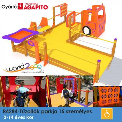 Tűzoltók Parkja: komplett multi-játék, amely lehetővé teszi minden gyermek számára, beleértve a kerekesszékben mozgókat is. Tartalmaz játék- és ügyességi és interaktív paneleket.