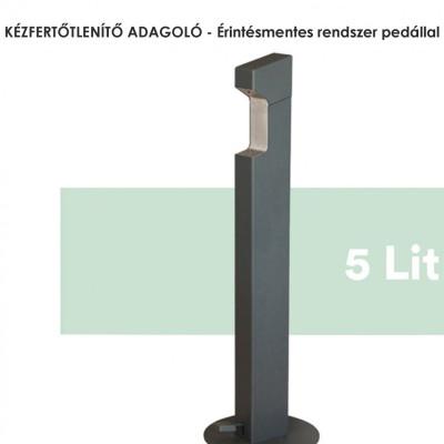 KÉZFERTŐTLENÍTŐ ADAGOLÓ érintésmentes rendszer pedállal. Újratölthető bármilyen fertőtlenítővel. 5 literes kapacitással. Teljesen rozsdamentes acélból készült. Igény szerin a talajhoz rögzíthető, vagy rögzítés nélkül telepíthető.