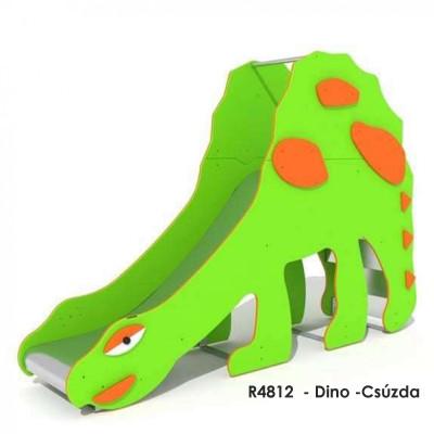 R4812  - Dino -Csúzda 9 éves korig. Rozsdamentes acél csúszda, műanyag oldalakkal.