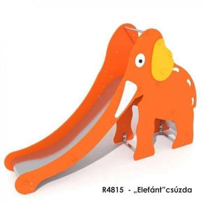 """R4815  - """"Elefánt""""csúzda 9 éves korig. Rozsdamentes acél csúszda, műanyag oldalakkal."""