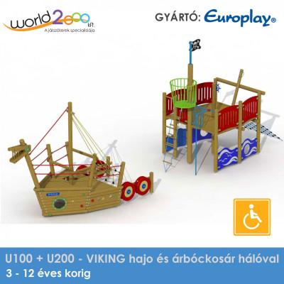 Viking hajó és árbockosár hálóval - akadálymentesített