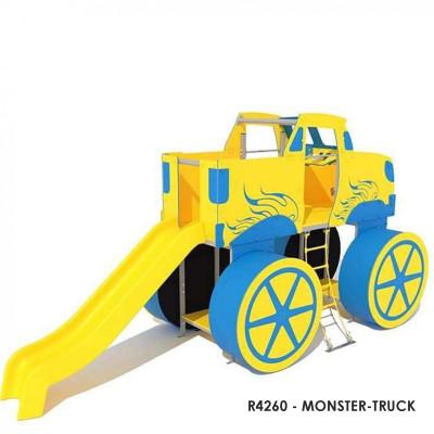 R4260 - MONSTER-TRUCK, felhasználók száma: 10, Nagylábú autó témájú játékszerkezet. Tartalmazza a mászófalat, kötéllépcsőt, csúszdát és egyéb játékkiegészítőket. Játszótér-biztonsági előírások szerint tanúsítva.