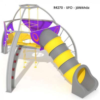 R4270 - UFO - játékház, Repülő csészealj alakú tematikus játékszerkezet. Modern és vonzó design. Robosztus szerkezet, időjárási viszonyoknak és vandalizmusnak ellenálló. Alagútcsúzda választható: műanyag vagy rozsdamentes acélból