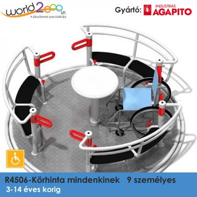 R4506-körhinta mindenkinek, 9 személyes, akadálymentesített, 3 mm vastag csúszásmentes alumínium lemez, ülés: 10 mm vastag polietilén