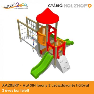 ALADIN torony 2 csúszdával és hálóval