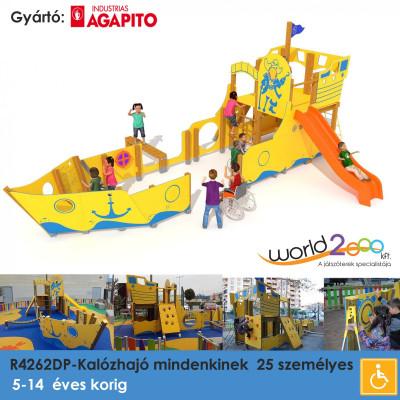 R4262DP-kalózhajó, akadálymentesített 25 személyes, különböző képességekkel rendelkező gyermekek számára, készségfejlesztő játékokkal felszerelve,