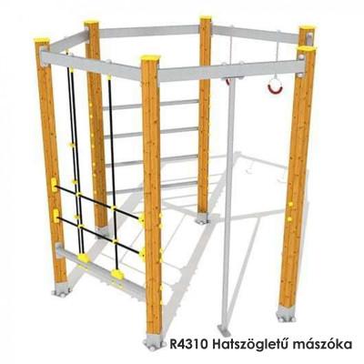 R4310 Hatszögletű mászóka 14 éves korig. 10 személyes.  Mászószerkezet: fából készült oszlopokból, acélrudakból és kötélhálókból . Hatszögletű alak és stabil felépítés.