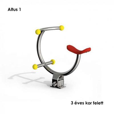 Altus 1- Az ülés és a fogantyúk színes gömbjai lágy gumiból készülnek, egyébként csak stabil rozsdamentes acélt használnak.