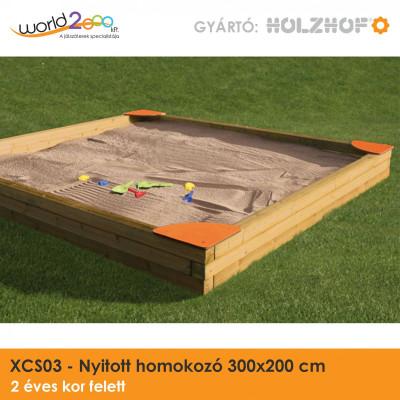 Nyitott homokozó 300x200 cm