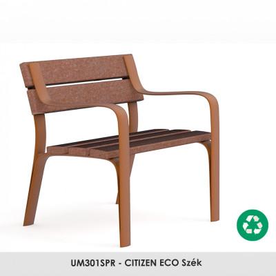 UM301SPR - CITIZEN ECO szék. Újrahasznosított műanyagból készült,amely szintén újrahasznosítható. Nincs szükség karbantartásra. Ez az anyag nem reped, reped, rothad és nem szárad ki. Rossz időjárási viszonyoknak nagyon ellenálló