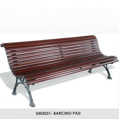 UM3031- BARCINO pad , kovácsoltvas lábak, 40 x 35 mm méretű trópusi fadeszkák, mahagóni színben.
