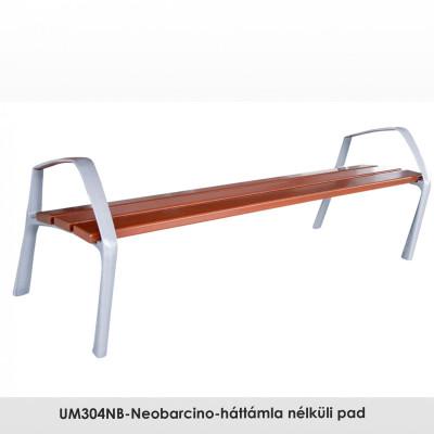 UM304NB-Neobarcino-háttámla nélküli pad. FSC; Fenntartható forrásokból származó fából készült, öntött alumínium lábakkal. A pad különböző fa színű kivitelben is kapható.