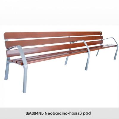 UM304NL-Neobarcino-hosszú pad. FSC; Fenntartható forrásokból származó fából készült, öntött alumínium lábakkal. A pad különböző fa színű kivitelben is kapható.