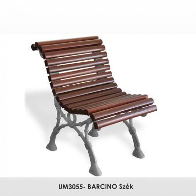 UM3055- BARCINO szék , kovácsoltvas lábak, 40 x 35 mm méretű trópusi fadeszkák, mahagóni színben.