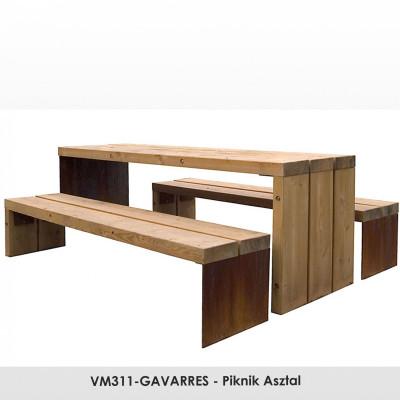 VM311-GAVARRES - Piknik Asztal fenyőfából.