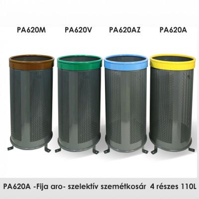 PA620A -Fija aro- szelektív szemétkosár  4 részes 110L, acél tartály Ø5 mm lyukakkal,  RAL 7011 szürke, kapható fedéllel is.