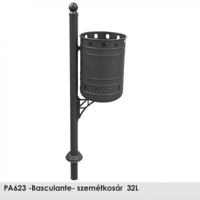 PA623 -Basculante- szemétkosár  32L , Ø 60 mm-es  acél oszlop epoxi alapozó bevonattal és fekete kovácsoltvas színű poliészter porral bevont kivitelben.
