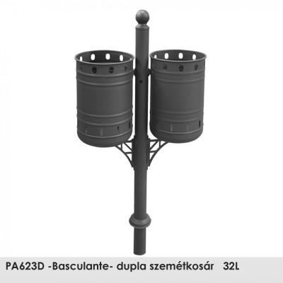 PA623D -Basculante- dupla szemétkosár   32L , Ø 60 mm-es  acél oszlop epoxi alapozó bevonattal és fekete kovácsoltvas színű poliészter porral bevont kivitelben.