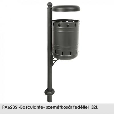 PA623S -Basculante- szemétkosár fedéllel  32L , Ø 60 mm-es  acél oszlop epoxi alapozó bevonattal és fekete kovácsoltvas színű poliészter porral bevont kivitelben.