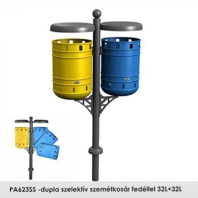 PA623DS -dupla szelektív szemétkosár fedéllel 32L+32L , Galvanizált hengeres tartály epoxi alapozó bevonattal és fekete kovácsoltvas színű poliészter porral bevont felülettel; az egyik tartály sárga RAL 1021-ben, a másik kék-színű RAL 5012-ben van.