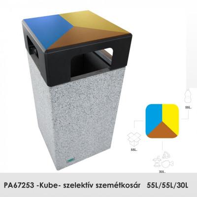 PA67253 -Kube- szelektív szemétkosár, Előre öntött sima gránitszürke beton. Papír, szerves vagy üveg hulladéktípusokhoz. rögzítés: szabadon álló.