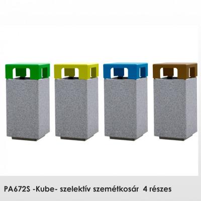 PA672S -Kube- szelektív szemétkosár, 4 részes, Előre öntött sima gránitszürke beton. Papír, szerves vagy üveg hulladéktípusokhoz. rögzítés: szabadon álló.