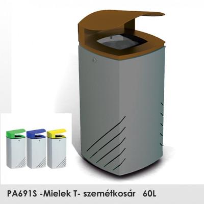PA691S-Mielek T- szemetes magas korrózióvédelemmel, stabil erős szerkezet, 60L , a fedél nyílása normál háromszög alakú kulccsal.