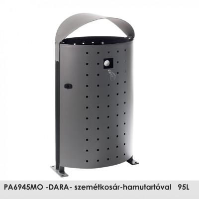 PA6945MO -DARA- szemétkosár-hamutartóval   95L , oldalán található praktikus hamutartó kulccsal nyitható, és az ajtón keresztül üríthető.