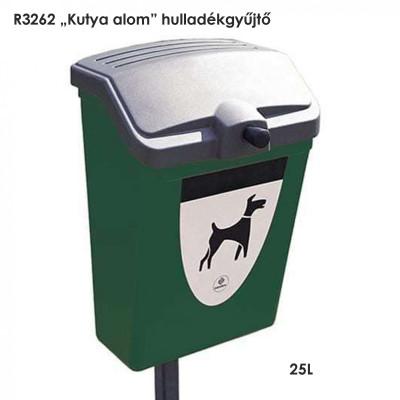 """R3262 """"Kutya alom"""" hulladékgyűjtő 25L-es oszlopra és falra egyaránt felszerelhető."""