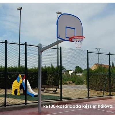 R6100-kosárlabda készlet hálóval,kültéri elhelyezésre, ellenáll az időjárási viszonyoknak és a vandalizmusnak.