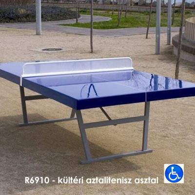 R6910 - kültéri aztalitenisz asztal, kültéri elhelyezésre, ellenáll az időjárási viszonyoknak és a vandalizmusnak.